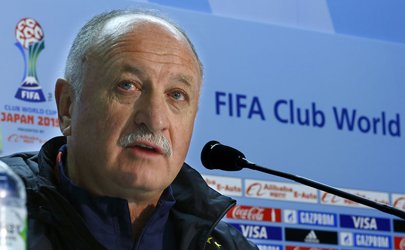 FILE - Guangzhou Evergrande FC coach Luiz Felipe Scolari of Brazil speaks during a press conference in Yokohama, near Tokyo, on Wednesday, December 16, 2015. Photo: AP