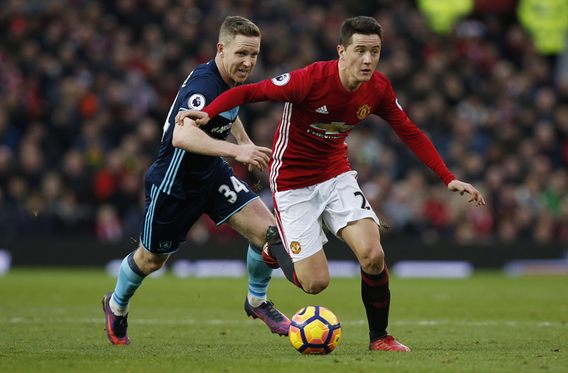 Manchester United's Ander Herrera in action with Middlesbrough's Adam Forshaw. Photo: Reuters