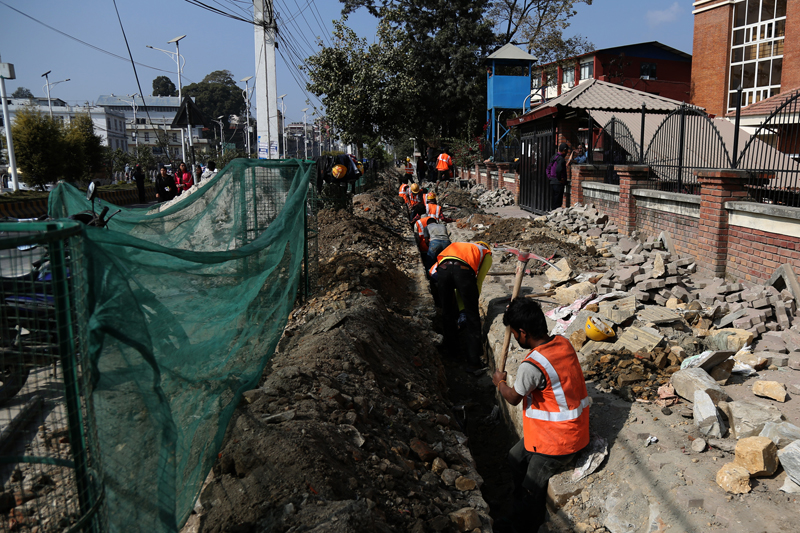FILE: Workers constructing pipelines for the Melamchi Drinking Water Project, in Babarmahal of Kathmandu, on Saturday, December 3, 2016. Photo: RSS