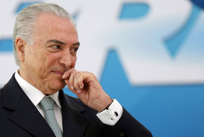 Brazil's President Michel Temer reacts during a ceremony at Planalto Palace in Brasilia, Brazil, on December 7, 2016. Photo: Reuters