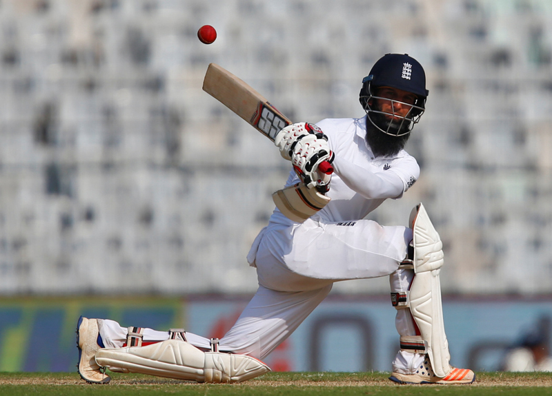 England's Moeen Ali plays a shot. Photo: Reuters