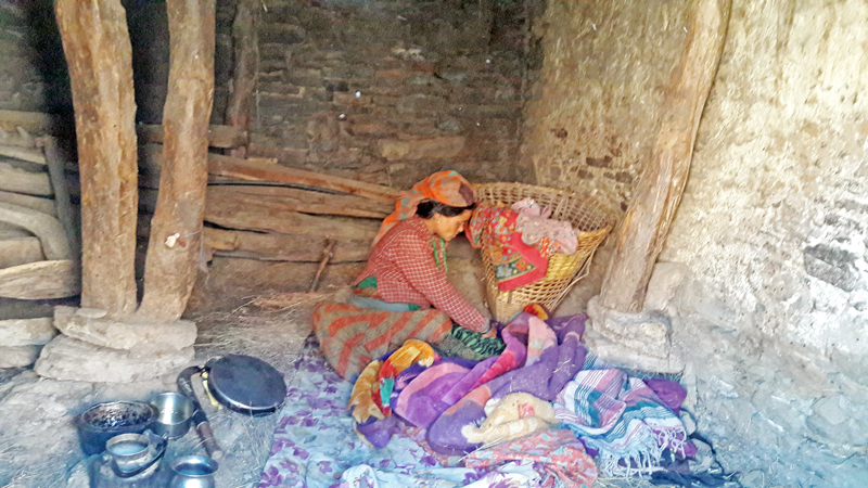 A new mother nurturing her child in a cowshed , in Hyanglu VDC, Mugu, on Sunday, December 4, 2016.  According to the local custom, women are kept in cowsheds for a month after they give birth. Photo: Prakash Singh