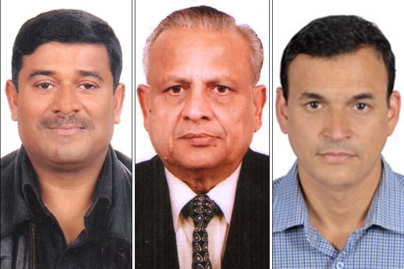 NEA Board of Directors members Manoj Kumar Mishra, Laxman Prasad Agrawal and Suraj Lamichhane. Photo Courtesy: NEA