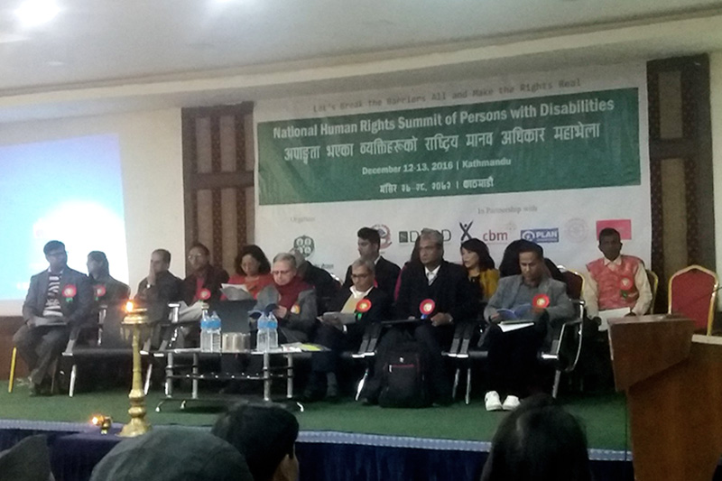 Dignitaries attend the National Human Rights Summit of Persons with Disabilities conference organised by the National Federation of Disabled-Nepal (NFD-N) in Kathmandu, on Monday, December 12, 2016. Photo: Monica Lohani