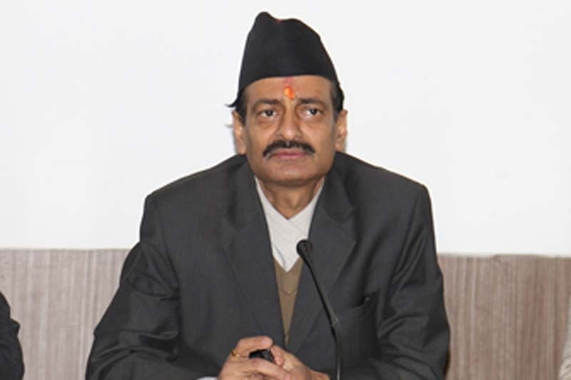 Minister for Industry Nabindra Raj Joshi speaks a press meeting in Kathmandu, on Friday, December 9, 2016. Photo: RSS