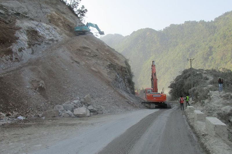 FILE: The Narayangadh-Muglin road section expansion work is going on, in Chitwan district, in December 2016. Photo: Tilak Ram Rimal/THT