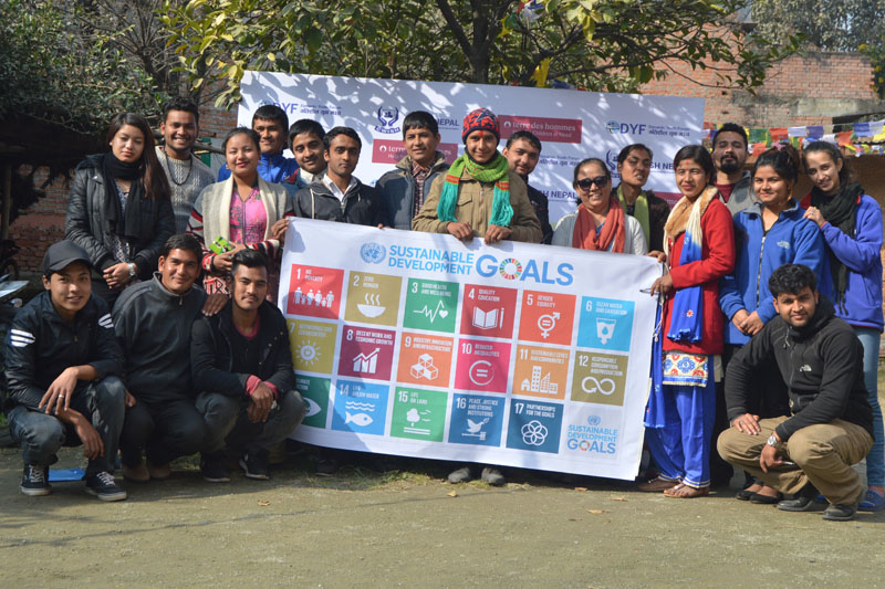 FILE: Participants of the National Youth Meet on Disaster Risk Reduction, Climate Change and Sustainable Development Goals pose for a photograph after conclusion of the event, on Friday, December 23, 2016. Photo: Amrit Devkota