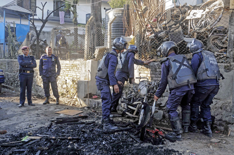 Locals took to the streets over the death of a taxi driver and torched a motor-cycle in Boudha Nayabasti area, in Kathmadu, on Sunday, December 11, 2016. The area remained tense throughout the day. Photo: THT