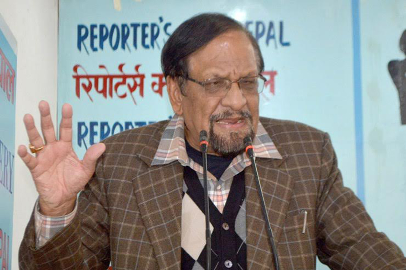 Nepali Congress leader Ram Sharan Mahat speaks with journalists in Kathmandu, on Friday, December 16, 2016. Photo: Reporters' Club Nepal