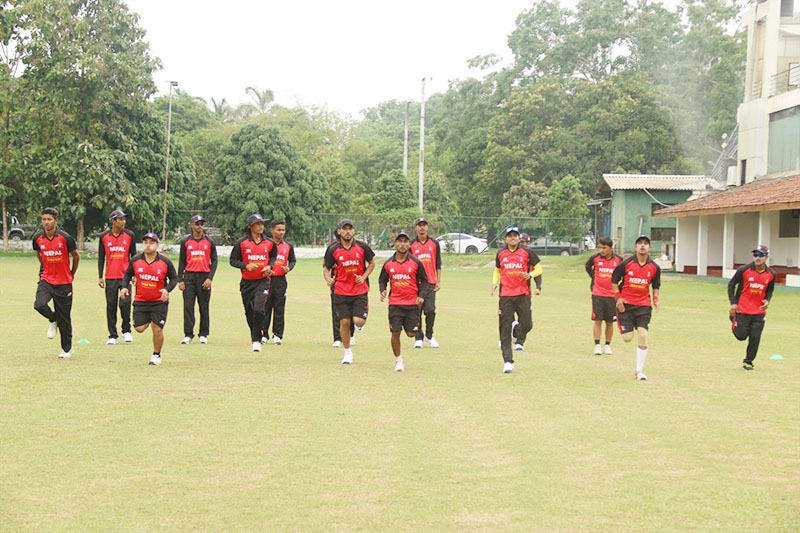 Nepalu2019s U-19 cricket team members jogging during a training session in Colombo, on the eve of their ACC U-19 Asia Cup match against Sri Lanka, on Wednesday, December 14, 2016. Photo courtesy: Raman Shiwakoti