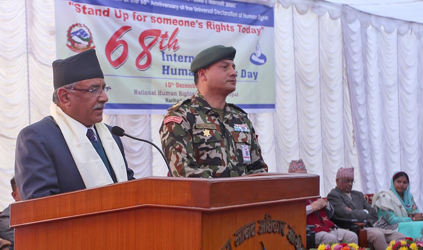Prime Minister Pushpa Kamal Dahal adresses a function organised on the occasion of International Human Rights Day in Kathmandu. Photo: RSS