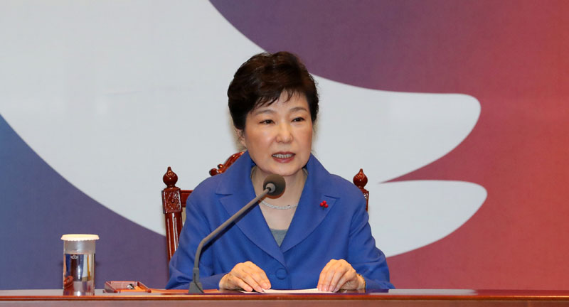 South Korean President Park Geun-hye speaks during an emergency cabinet meeting at the Presidential Blue House in Seoul, South Korea, on December 9, 2016. Photo: Reuters Yonhap via Reuters