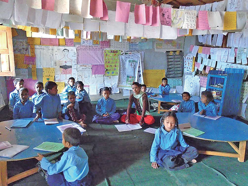 A class in progress at Patherkot Lower Secondary School, in Bajura, on Saturday, December 10, 2016. Photo: THT