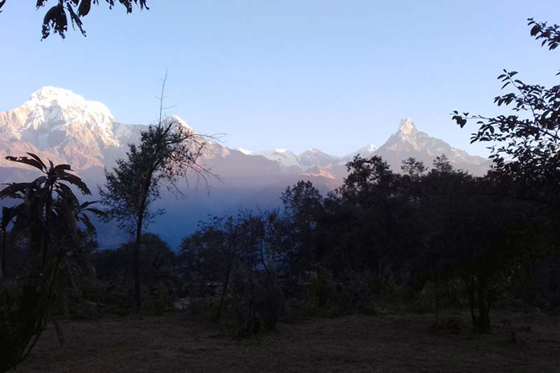 A view of Mount Machhapuchhre (Fishtail) and Mount Annapurna as seen from Tanchok, Lumle-3 of Kaski district at the sunrise of Monday, December 12, 2016. Photo: RSS