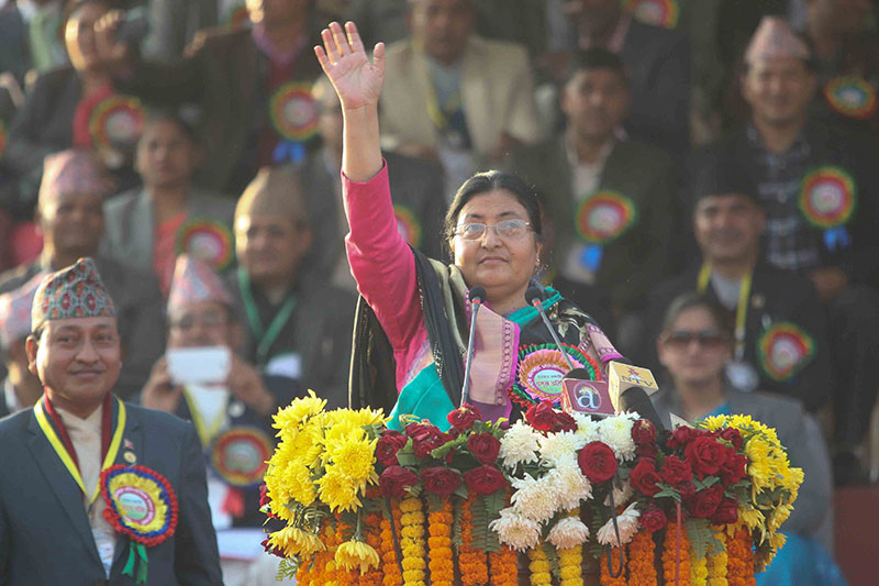 FILE: President Bidhya Devi Bhandari acknowledges the crowd during the opening ceremony of seventh National Games at the Shahid Maidan stadium in Biratnagar on Friday, December 23, 2016. Photo: Udipt Singh Chhetry/THT