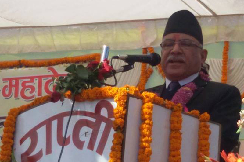 Prime Minister Pushpa Kamal Dahal speaks at a function after laying foundation stone for a bridge in Sisahaniya of Dang district, on Wednesday, December 7, 2016. Photo: RSS