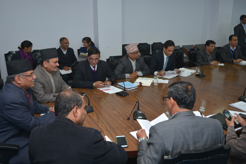 Prime Minister Pushpa Kamal Dahal chairs a meeting held to discuss power crisis in the nation, in Kathmandu, on Monday, December 12, 2016. Photo: PM's Secretariat