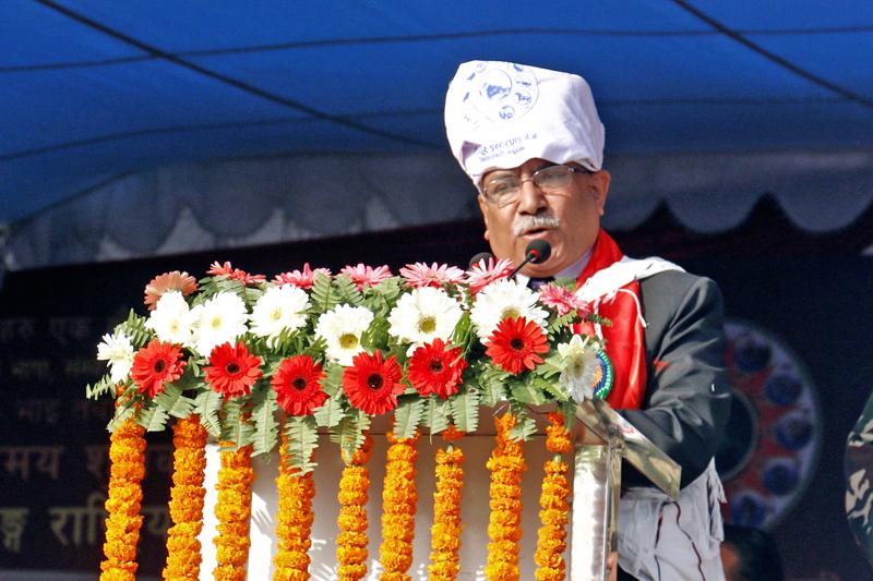Primer Minister Pushpa Kamal Dahal addresses a function organised on the occasion of Tamu Lhosar at Tundikhel of Kathmandu, on Friday, December 30, 2016. Photo: RSS