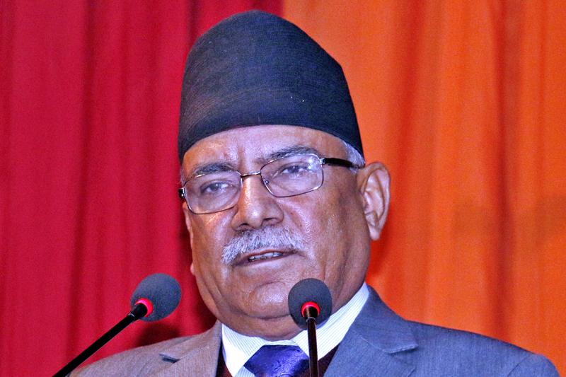 Prime Minister Pushpa Kamal Dahal speaking at a programme in Kathmandu, on Monday, December 26, 2016. Photo: RSS