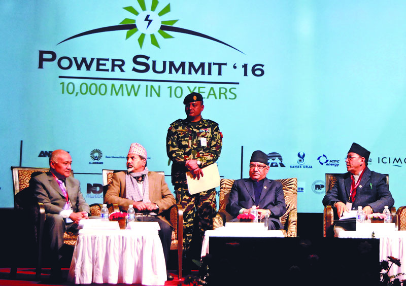 Prime Minister Pushpa Kamal nDahal at the Power Summit 2016, organised by Independent Power Producers Association, Nepal, in Kathmandu, on Thursday, December 15, 2016. Photo: Balkrishna Thapa