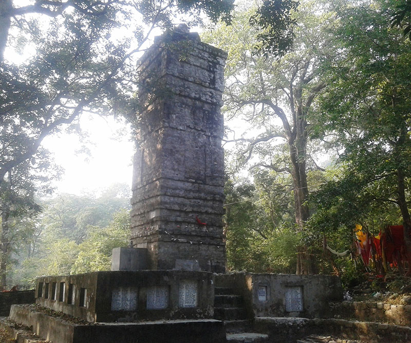 A view of a religious pillar at Rautela in Bedkot municipality of Kanchanpur district, on December 13, 2016. The pilar built with the support of donors, is among the ancient place of pilgrimage.