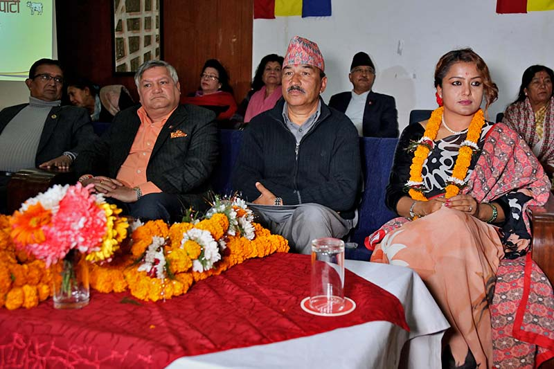 Rekha Thapa (right) attends a function with Rastriya Prajatantra Party Chairman Kamal Thapa after joining the party in Kathmandu, on Monday, December 12, 2016. Photo: RSS