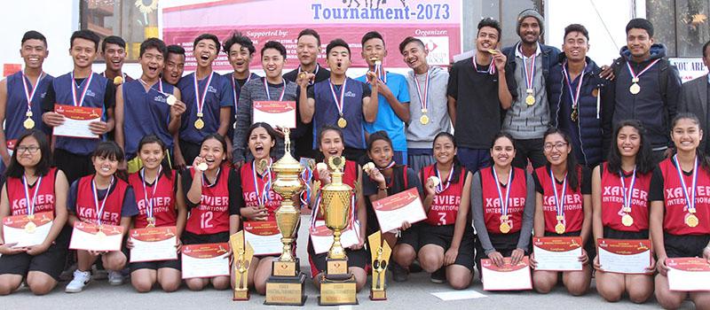 Winners of the first Rosebud Valleywide Inter-college Basketball Tournament in Kathmandu on Wednesday, November 30, 2016. Photo: Udipt Singh Chhetry/THT