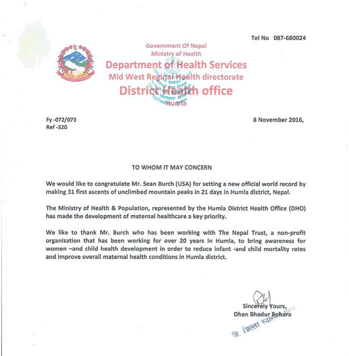 Proclaimation that Sean Burch received from District Health Office, Humla
