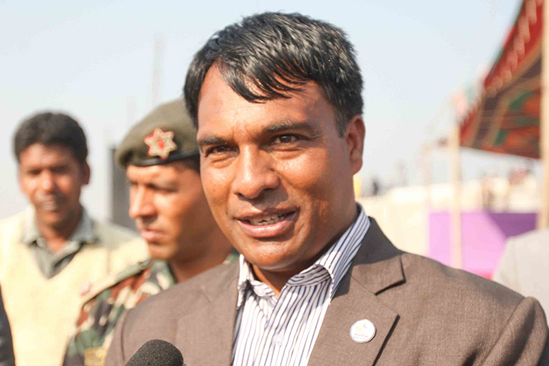 Minister for Youth and Sports Daljit Shreepaili reacts with mediapersons regarding the ground condition of cricket ground at Baijanathpur in Biratnagar of Morang district, on Friday, December 23, 2016.