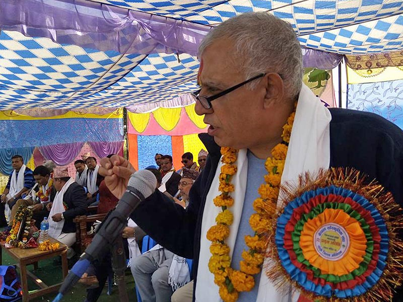 Nepali Congress General Secretary Shashanka Koirala speaks during the inaugural of Dhanadhanyanchal Mahayagna at a local scholl in Devchuli of Nawalaparasi district. Photo: RSS