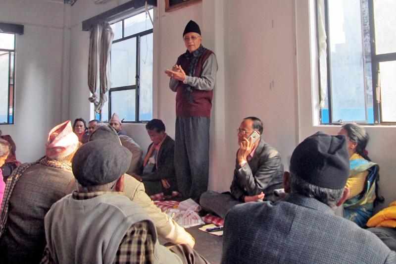 Nepali Congress leader Shekhar Koirala addressing the cadres in Pokhara, on Tuesday, December 13, 2016. Photo: Rishi Ram Baral