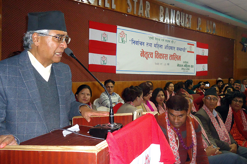 Nepali Congress President Sher Bahadur Deuba speaking at a programme organised by the NC-aligned Nepal Women Association in Bharatpur of Chitwan, on Wednesday, December 14, 2016. Photo: Tilak Ram Rimal
