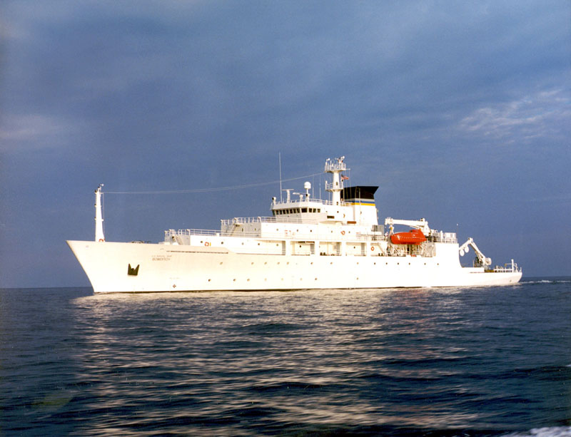 The oceanographic survey ship, USNS Bowditch, is shown on September 20, 2002, which deployed an underwater drone seized by a Chinese Navy warship in international waters in South China Sea, on December 16, 2016. Photo Courtesy: US Navy via Reuters