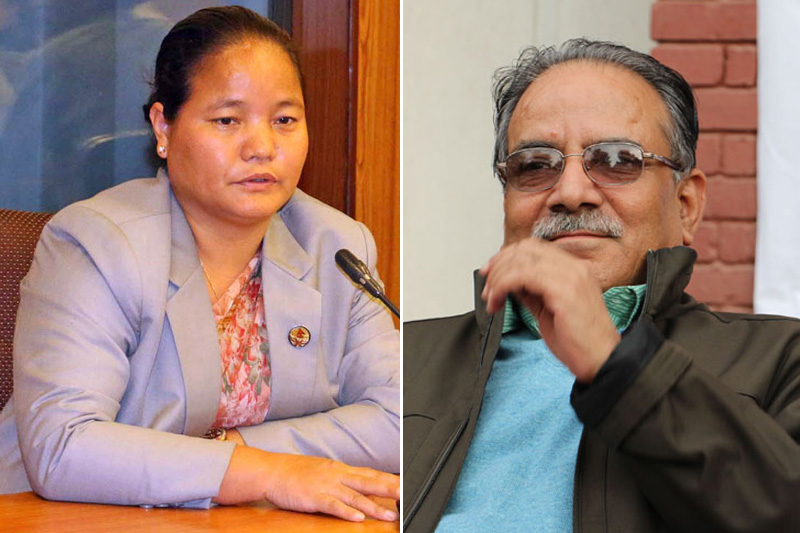 File photo of Speaker Onsari Gharti Magar (left) and PM Pushpa Kamal Dahal. Photos: THT