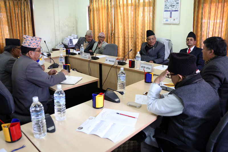 FILE: The State Affairs Committee of the Parliament holds a meeting to discuss election-related bills, in Kathmandu, on Thursday, December 22, 2016. Photo: RSS