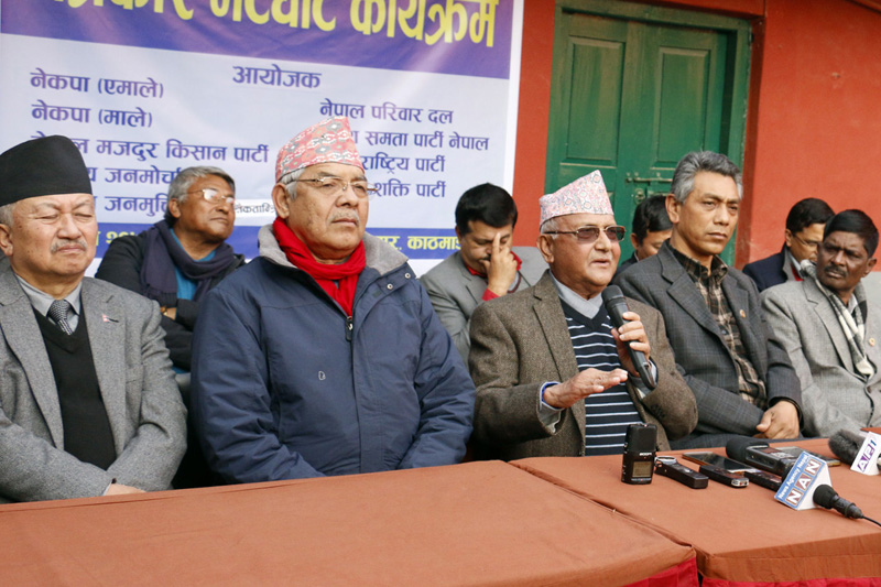 Opposition leaders including CPN-UML Chairman KP Sharma Oli address a press conference, in Kathmandu, on Sunday, December 25, 2016. Photo: RSS