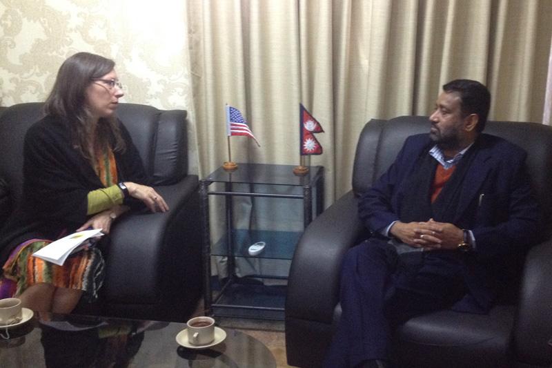 United States Ambassador to Nepal, Alaina B Teplitz, calls on Deputy Prime Minister and Minister for Home Affairs Bimalendra Nidhi, in Kathmandu, on Monday, December 12, 2016. Photo: Ramjee Dahal