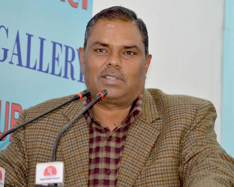 Federal Socialist Forum-Nepal Chairman Upendra Yadav addresses an interaction programme in Kathmandu on Wednesday, December 28, 2016. Photo: Reporters' Club Nepal