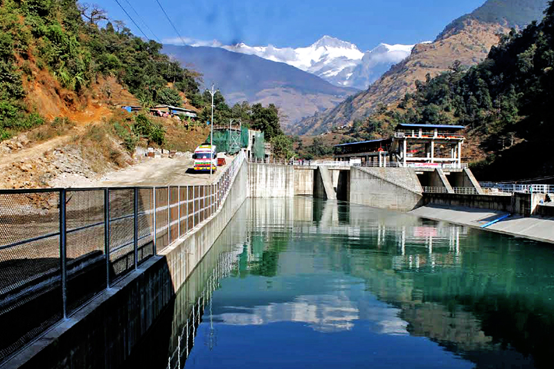 A view of the Upper Madi Hydro Project with 25 MW capacity in Sildujure, Kaski, on Friday, December 30, 2016. Photo: Bharat Koirala