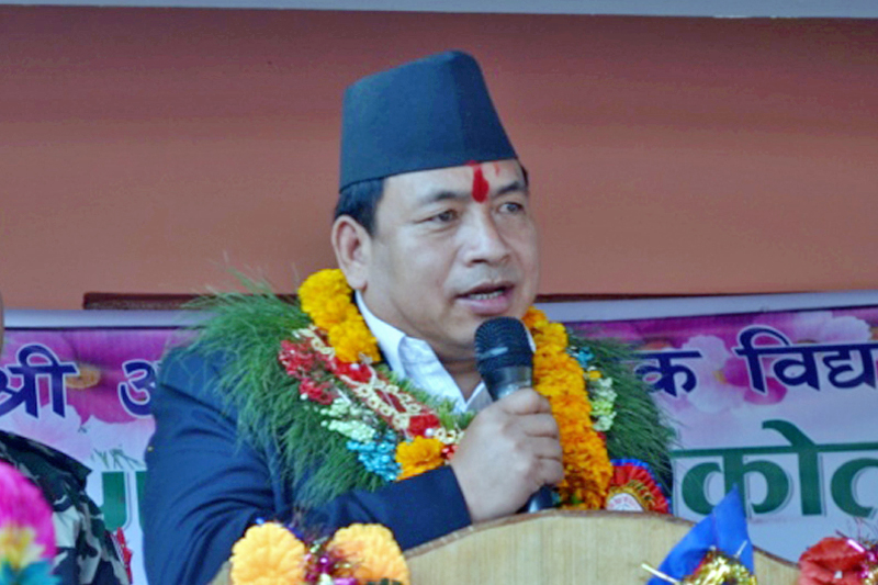 Nepal's Vice-President Nanda Bahadur Pun speaking at the Achane Higher Secondary School's anniversary programme in Dhading district, on Sunday, December 5, 2016. Photo: RSS