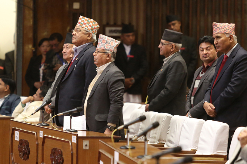 FILE: Lawmakers of the main opposition CPN-UML stand up from their seats as they obstruct the Parliament meeting against the Constitution amendment bill, on Friday, December 9, 2016. Photo: RSS