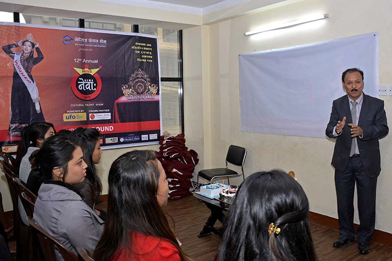 Chief Advisor of the Nepalese Fashion Home, Bhai Raja Tuladhar,  birefs contestants of the 12th Miss Newa about the event in an orientation programme held at the NFH Office in Dillibazar, on Sunday, January 1, 2017. Photo Courtesy: Nepalese Fashion Home