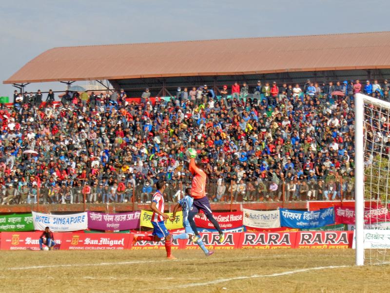 A goalie vies for a ball during 15th Aaha Rara Gold Cup football tournament between Manang Marsyangdi and CMG Sankata at Pokhara Stadium, in Pokhara, on Thursday, January 26, 2017. Photo: RSS