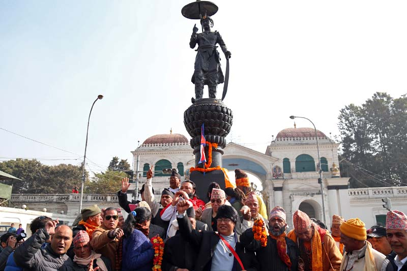 People gather near the statue of late King Prithvi Narayan Shah, hailing the contributions of the late King, on the occasion of 295th Prithvi Jayanti, in front of the Singha Durbar on Wednesday, January 11, 2017. Photo: RSS