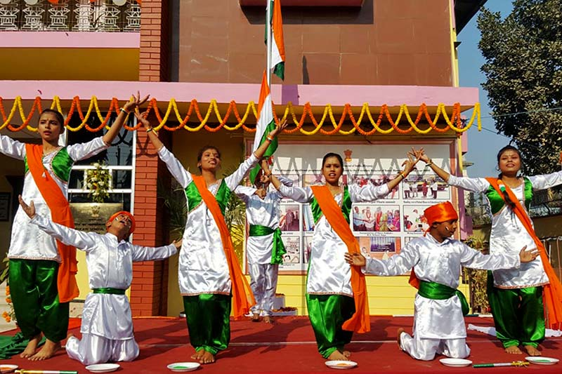 Children perform a special dance amid a programme organised on the occasion of 68th Republic Day of India at the Consulate General of India, Birgunj on Thursday, January 26, 2017. Photo: Ram Sarraf/THT