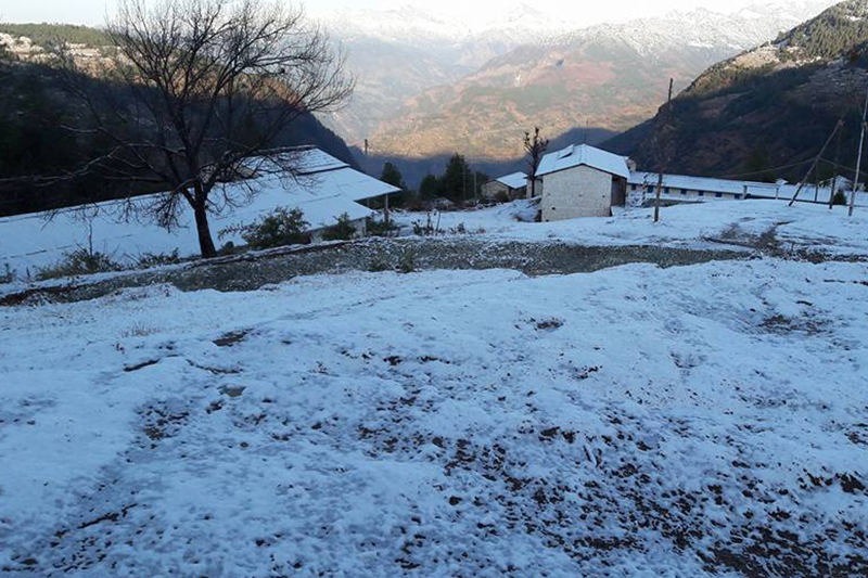 A school premises blanketed with snow in Ramche of Myagdi district on Saturday, January 28, 2017. Photo: RSS