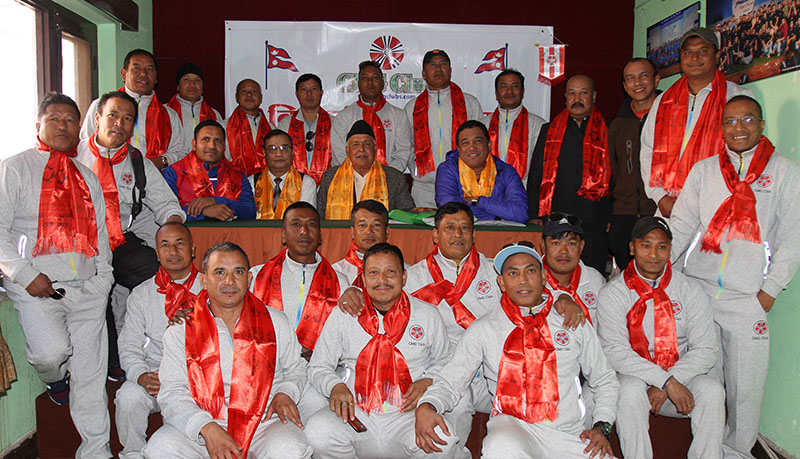 Former IGP and national football team skipper Achyut Krishna Kharel (centre) and veteran football players pose for a group photo during their farewell in Kathmandu on Wednesday, January 18, 2017. Photo: Udipt Singh Chhetry/THT