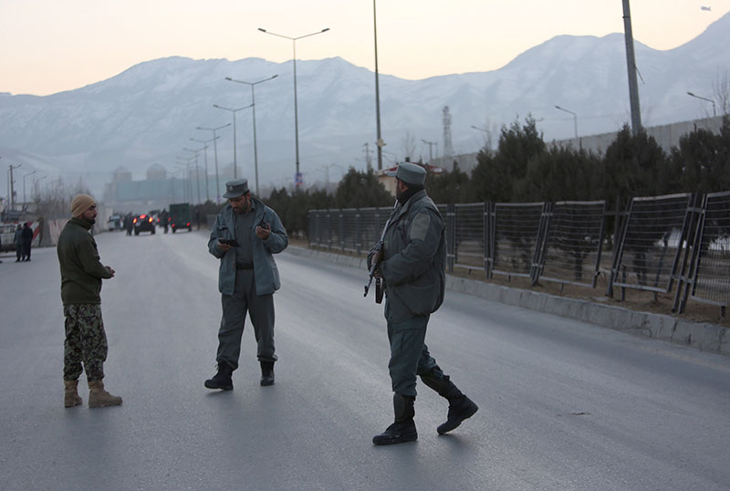 Afghan security forces stand guard near the site of two blasts in Kabul, Afghanistan, on Tuesday, January 10, 2017. Photo: AP