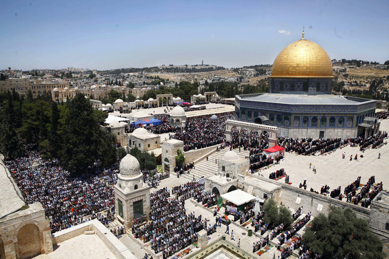 FILE - In this June 17, 2016 file photo, Palestinians pray in the Al Aqsa Mosque compound during the Muslim holy month of Ramadan, in Jerusalem's Old City. Photo: AP