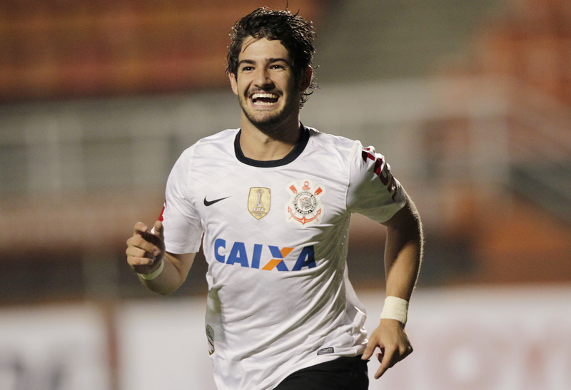 FILE - In this Wednesday, Feb. 27, 2013, file photo, Brazil's Corinthians' Alexandre Pato celebrates after scoring against Colombia's Millonarios during a Copa Libertadores soccer match in Sao Paulo, Brazil. Photo: AP